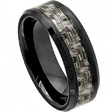 (Wholesale)Black Tungsten Carbide Carbon Fiber Ring-TG4002