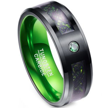 (Wholesale)Tungsten Carbide Aluminum Black Green Dragon Ring-TG4