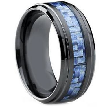 (Wholesale)Black Tungsten Carbide Ring With Carbon Fiber-TG4019