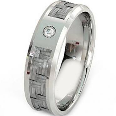 (Wholesale)Tungsten Carbide Ring With Carbon Fiber & CZ-TG4021