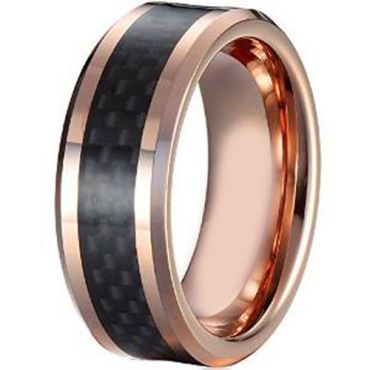 (Wholesale)Tungsten Carbide Ring With Carbon Fiber-TG4022