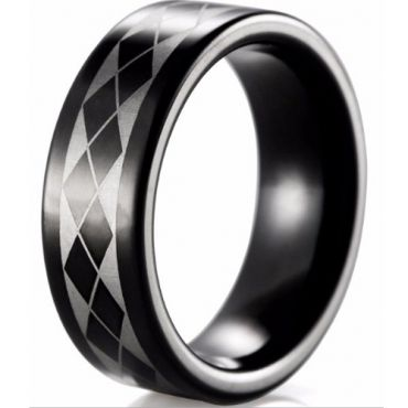 (Wholesale)Black Tungsten Carbide Checkered Flag Ring - TG2950