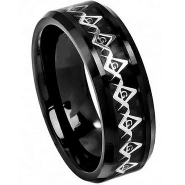 (Wholesale)Black Tungsten Carbide Masonic Inlays Ring-TG4027