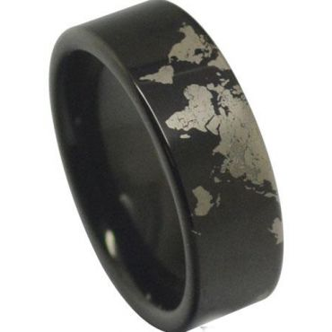 (Wholesale)Black Tungsten Carbide Pipe Cut Map Ring - TG4040