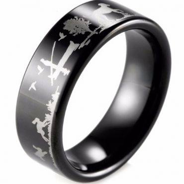 (Wholesale)Black Tungsten Carbide Outdoor Hunting Ring - TG4041B