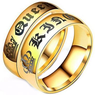 (Wholesale)Tungsten Carbide Dome King Queen Ring - TG4054