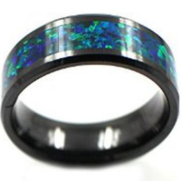 (Wholesale)Black Tungsten Carbide Imitate Opal Ring - TG4073