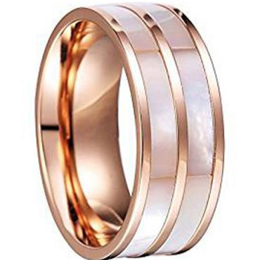 (Wholesale)Rose Tungsten Carbide Abalone Shell Ring-TG4128AA