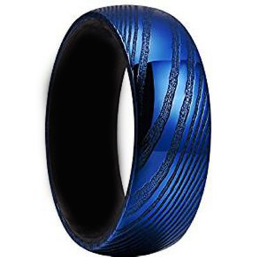(Wholesale)Tungsten Carbide Black Blue Damascus Ring - TG4147A