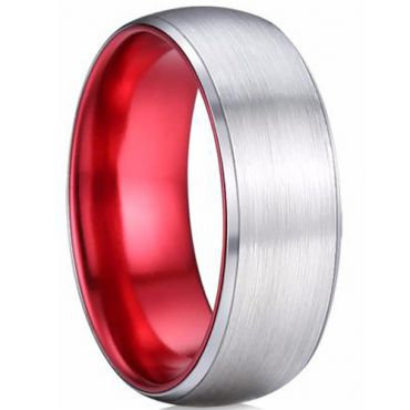 (Wholesale)Tungsten Carbide Aluminum Silver Red Ring - TG4166