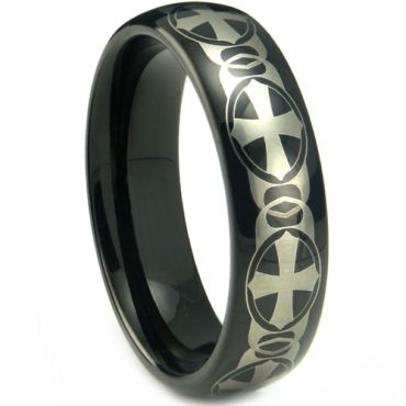 (Wholesale)Black Tungsten Carbide Cross Ring - TG4207