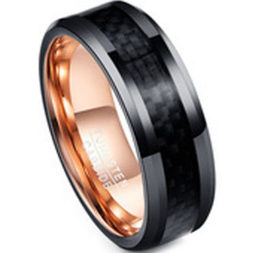 (Wholesale)Tungsten Carbide Black Rose Carbon Fiber Ring-TG4221