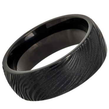 (Wholesale)Black Tungsten Carbide Damascus Ring - TG4281