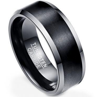 (Wholesale)Tungsten Carbide Beveled Edges Ring - TG4308