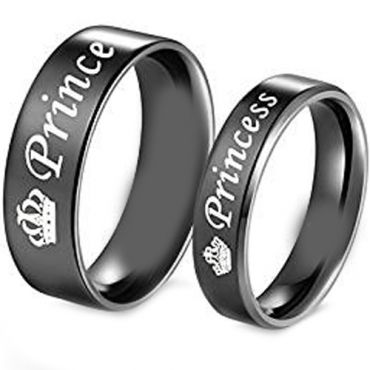(Wholesale)Black Tungsten Carbide Prince Princess Ring-4331