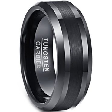 (Wholesale)Black Tungsten Carbide Beveled Edges Ring - TG4342