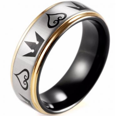 (Wholesale)Tungsten Carbide Black Gold Kingdom Heart Ring-TG4352
