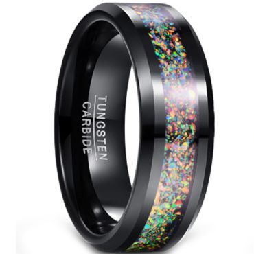 (Wholesale)Black Tungsten Carbide Imitate Opal Ring-4352