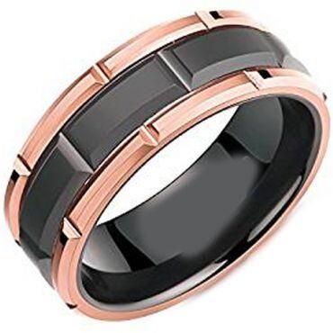 (Wholesale)Tungsten Carbide Black Rose Brick Pattern Ring-4382