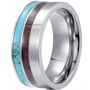 (Wholesale)Tungsten Carbide Imitate Turquoise & Wood Ring-4424