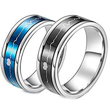 (Wholesale)Tungsten Carbide Double Groove HeartBeat Ring - TG443