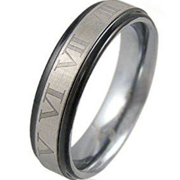 (Wholesale)Tungsten Carbide Ring With Roman Numerals - TG4440