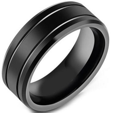 (Wholesale)Black Tungsten Carbide Ring - TG4449