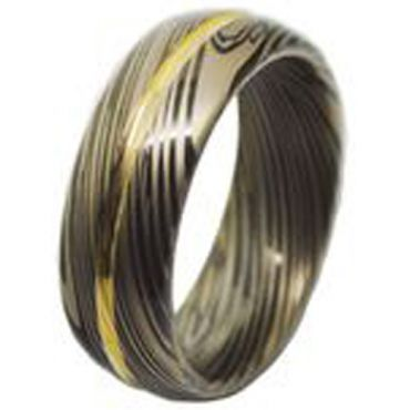 (Wholesale)Tungsten Carbide Black Gold Damascus Ring - TG4460