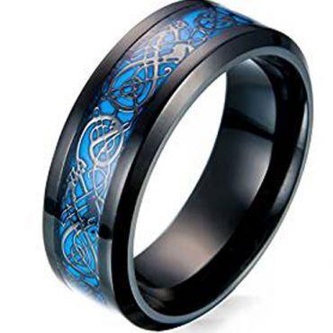 (Wholesale)Black Tungsten Carbide Dragon Ring - TG4468