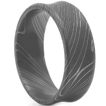 (Wholesale)Black Tungsten Carbide Concave Damascus Ring - TG4470