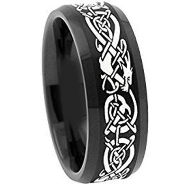 (Wholesale)Black Tungsten Carbide Dragon Ring - TG4488AA