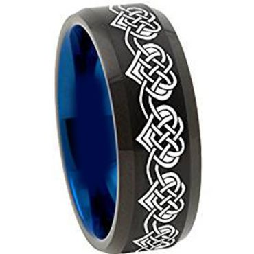 (Wholesale)Tungsten Carbide Black Blue Beveled Edges Ring-4492AA