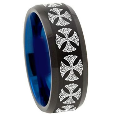 (Wholesale)Tungsten Carbide Black Blue Cross Ring - TG4516
