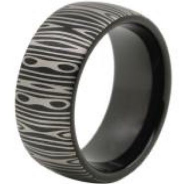 (Wholesale)Black Tungsten Carbide Damascus Ring - TG4526