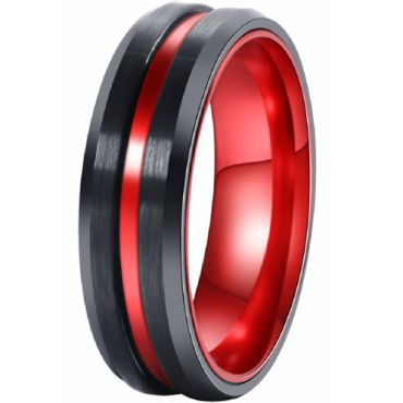(Wholesale)Tungsten Carbide Aluminum Black Red Ring-TG4527