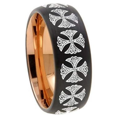 (Wholesale)Tungsten Carbide Black Rose Cross Dome Ring - TG4541