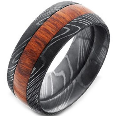 (Wholesale)Black Tungsten Carbide Damascus Ring With Wood - TG45