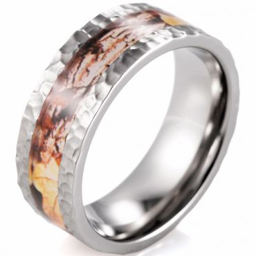 (Wholesale)Tungsten Carbide Hammered Camo Ring - TG4576