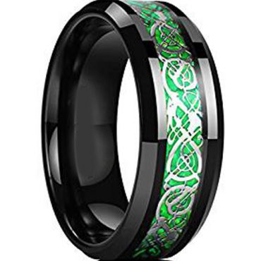 (Wholesale)Black Green Tungsten Carbide Dragon Ring-TG4606