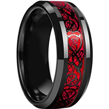 (Wholesale)Black Red Tungsten Carbide Dragon Ring - TG4659AA