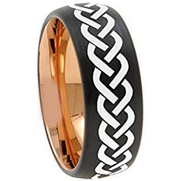 (Wholesale)Tungsten Carbide Black Rose Celtic Ring - 4667