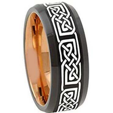 (Wholesale)Tungsten Carbide Black Rose Celtic Ring - 4672