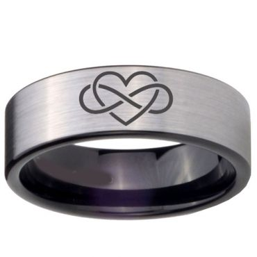 (Wholesale)Tungsten Carbide Infinity Heart Ring - TG4675