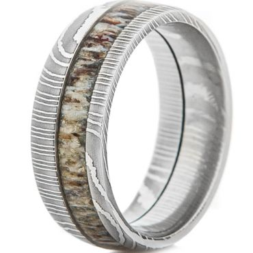 (Wholesale)Tungsten Carbide Damascus Deer Antler Ring-TG4683AA