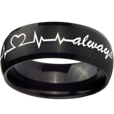 (Wholesale)Black Tungsten Carbide Heartbeat Ring - TG4702