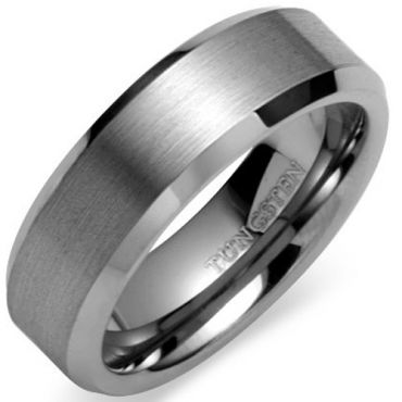 (Wholesale)Tungsten Carbide Beveled Edges Ring - TG613