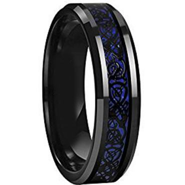(Wholesale)Black Tungsten Carbide Dragon Ring - TG615AA