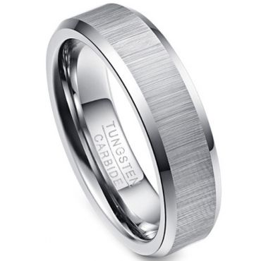 (Wholesale)Tungsten Carbide Beveled Edges Ring - TG616