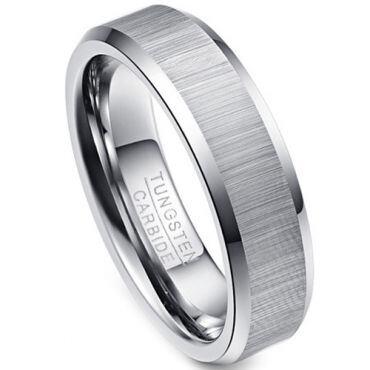 (Wholesale)Tungsten Carbide Beveled Edges Ring - TG616