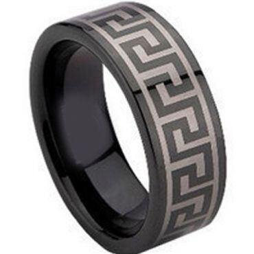 (Wholesale)Black Tungsten Carbide Greek Key Ring - TG673